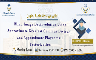 أقامت كلية العلوم الحاسب ونظم المعلومات ندوة علمية بعنوان: Blind Image Decinvolution Using Approximate Greatest Common Divisor and Approximate Ploynomail Factorization